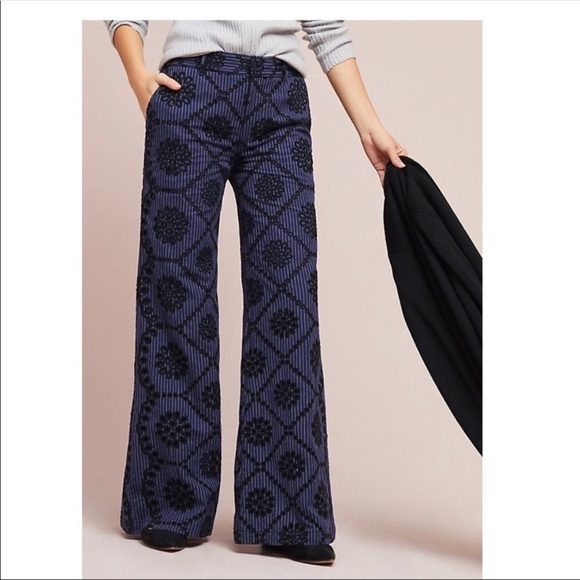 Anthropologie Pants - ett twa by Anthropologie embroidered floral pants.